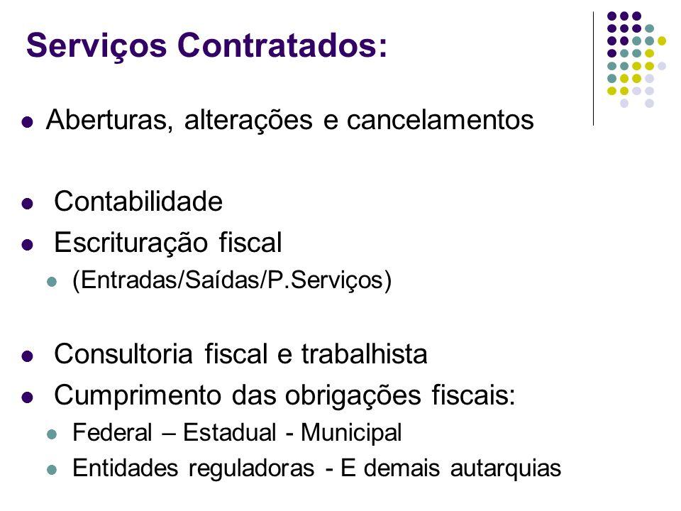 Serviços Contratados: Aberturas, alterações e cancelamentos Contabilidade Escrituração fiscal (Entradas/Saídas/P.Serviços) Consultoria fiscal e trabal