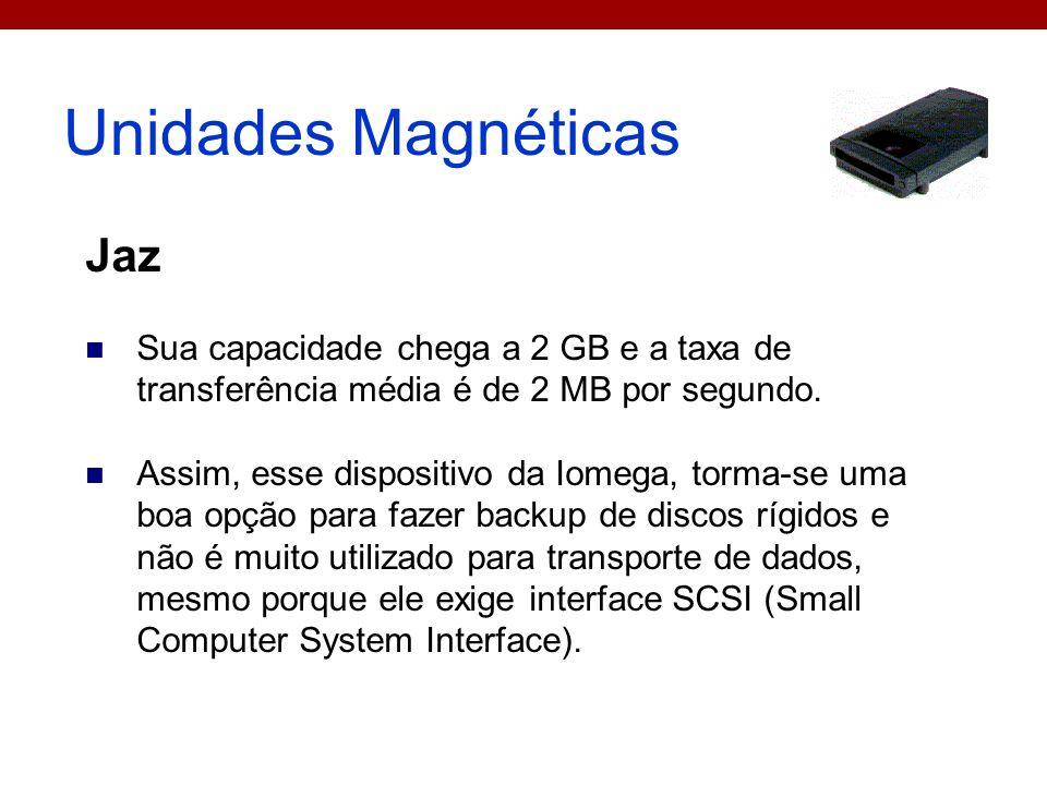 Unidades Magnéticas Jaz Sua capacidade chega a 2 GB e a taxa de transferência média é de 2 MB por segundo. Assim, esse dispositivo da Iomega, torma-se