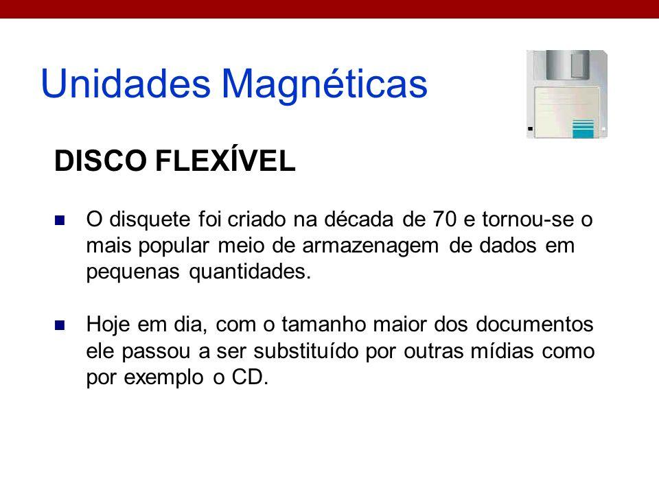 Unidades Magnéticas DISCO FLEXÍVEL O disquete foi criado na década de 70 e tornou-se o mais popular meio de armazenagem de dados em pequenas quantidad