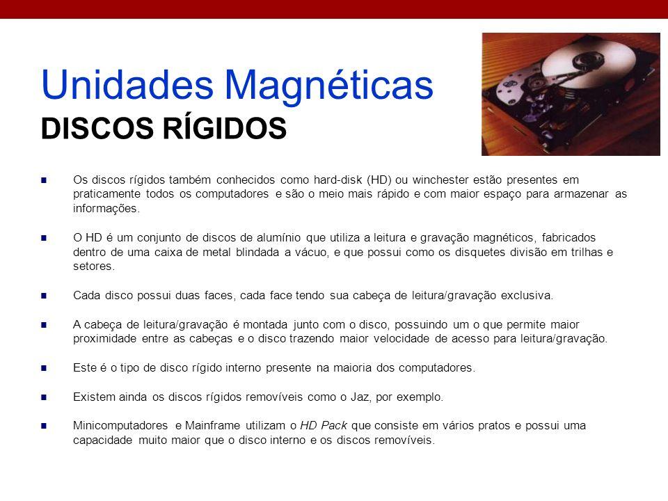 Unidades Magnéticas DISCOS RÍGIDOS Os discos rígidos também conhecidos como hard-disk (HD) ou winchester estão presentes em praticamente todos os comp