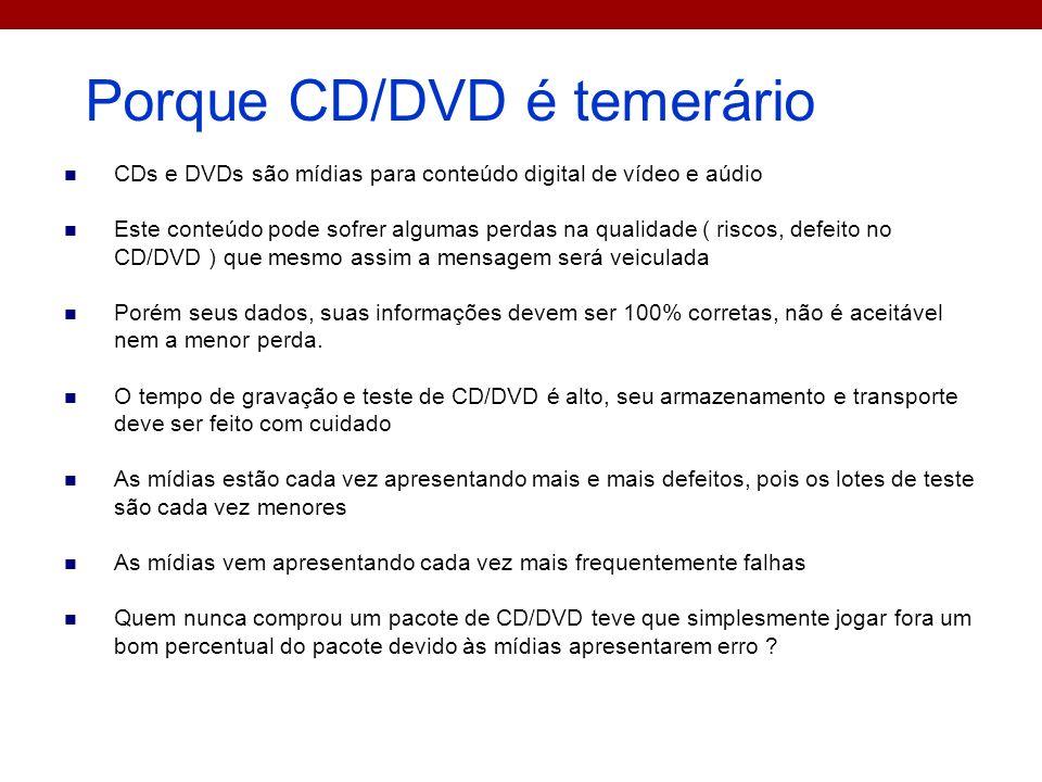 Porque CD/DVD é temerário CDs e DVDs são mídias para conteúdo digital de vídeo e aúdio Este conteúdo pode sofrer algumas perdas na qualidade ( riscos,