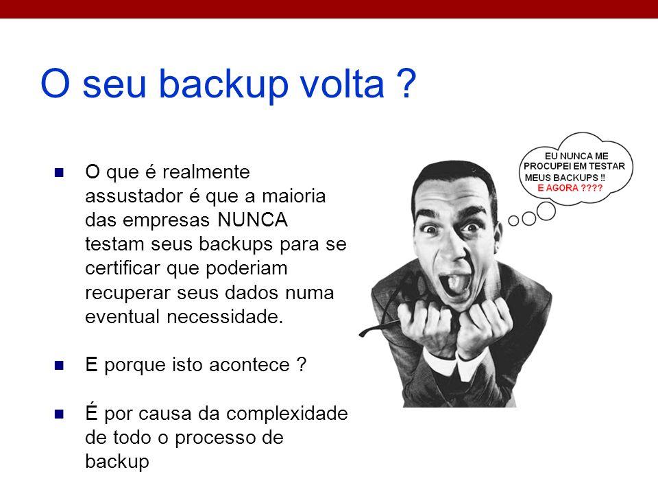 O seu backup volta ? O que é realmente assustador é que a maioria das empresas NUNCA testam seus backups para se certificar que poderiam recuperar seu