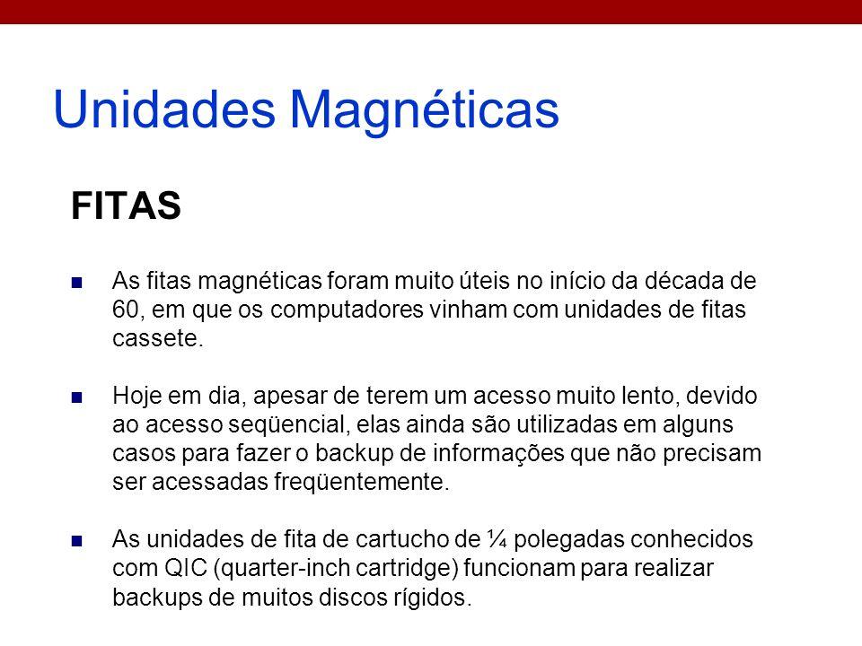 Unidades Magnéticas FITAS As fitas magnéticas foram muito úteis no início da década de 60, em que os computadores vinham com unidades de fitas cassete