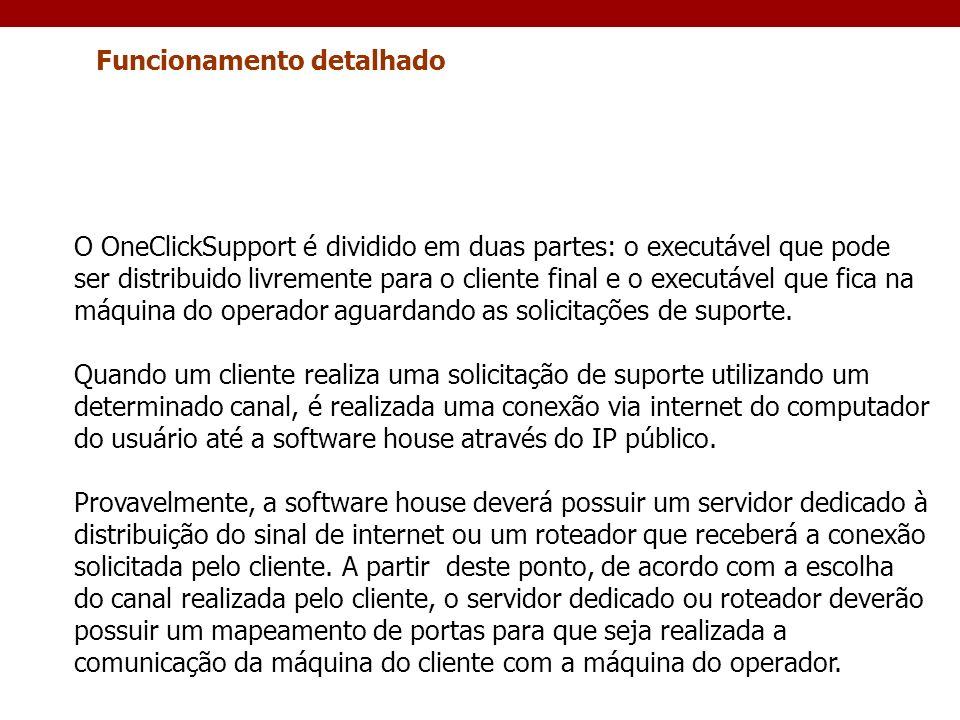 Funcionamento detalhado O OneClickSupport é dividido em duas partes: o executável que pode ser distribuido livremente para o cliente final e o executá