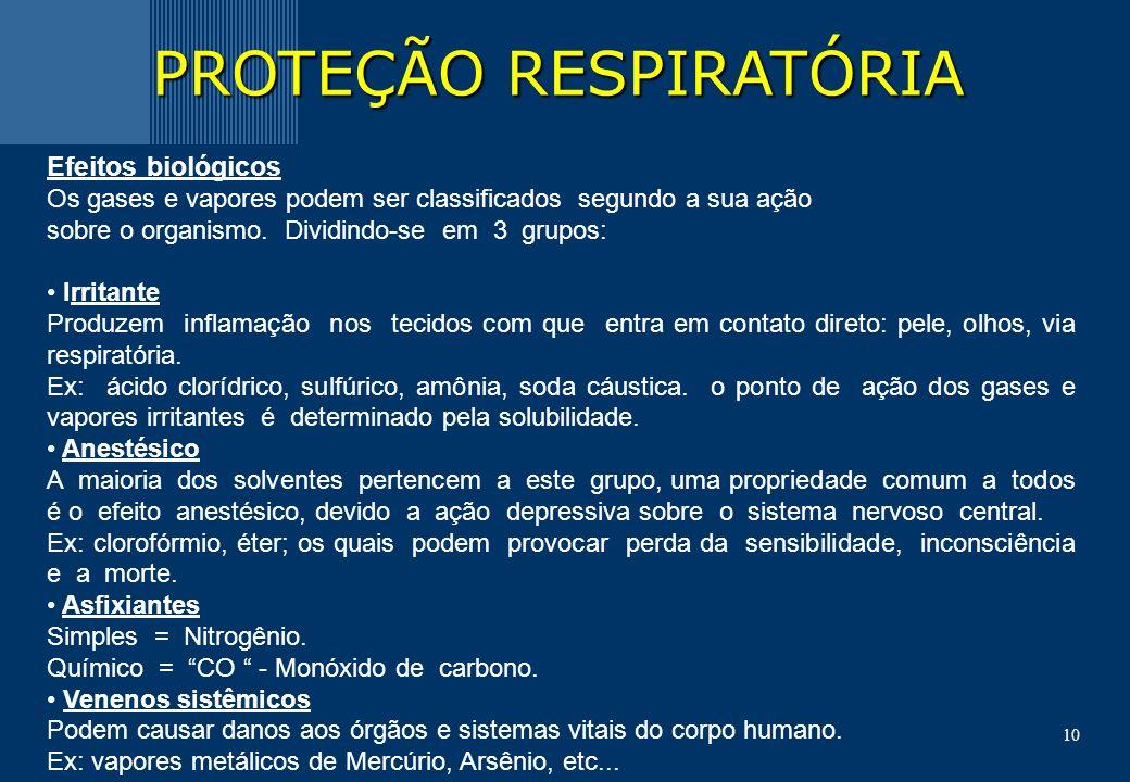 10 PROTEÇÃO RESPIRATÓRIA Efeitos biológicos Os gases e vapores podem ser classificados segundo a sua ação sobre o organismo.