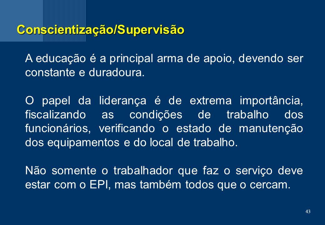 43 Conscientização/Supervisão A educação é a principal arma de apoio, devendo ser constante e duradoura.