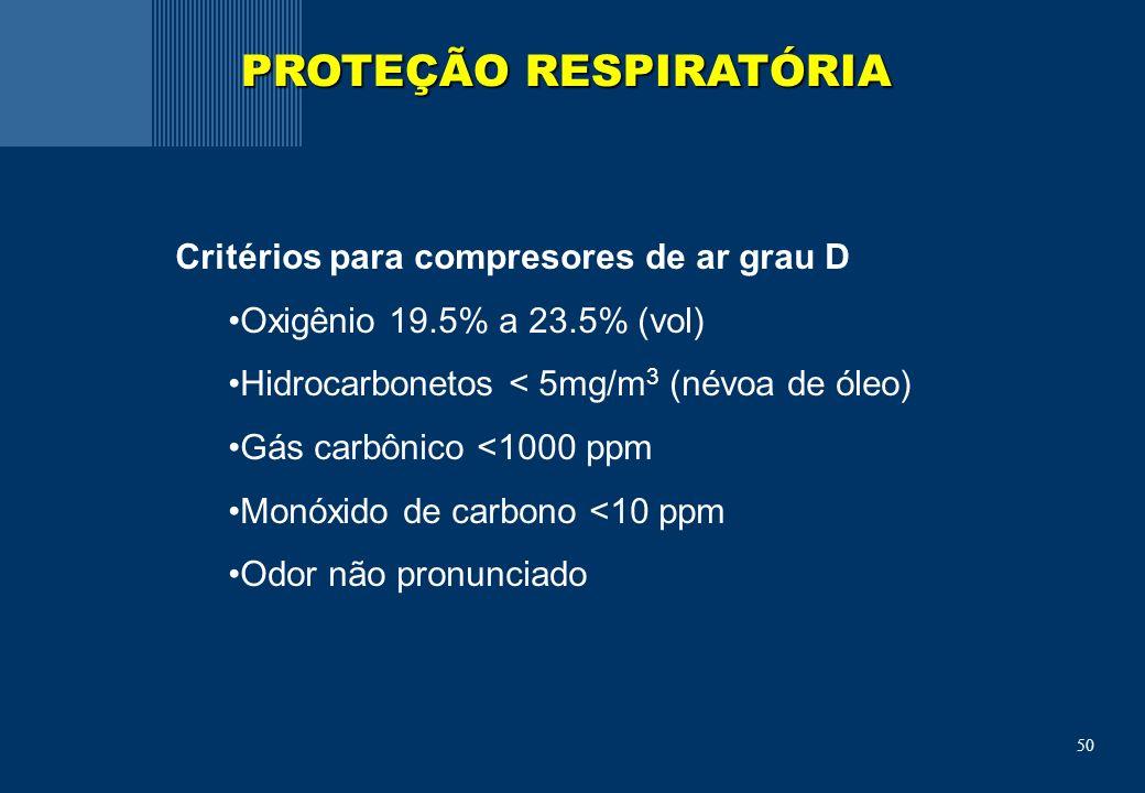 50 Critérios para compresores de ar grau D Oxigênio 19.5% a 23.5% (vol) Hidrocarbonetos < 5mg/m 3 (névoa de óleo) Gás carbônico <1000 ppm Monóxido de carbono <10 ppm Odor não pronunciado PROTEÇÃO RESPIRATÓRIA