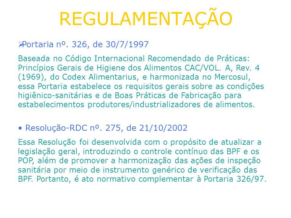 REGULAMENTAÇÃO Portaria nº. 326, de 30/7/1997 Baseada no Código Internacional Recomendado de Práticas: Princípios Gerais de Higiene dos Alimentos CAC/