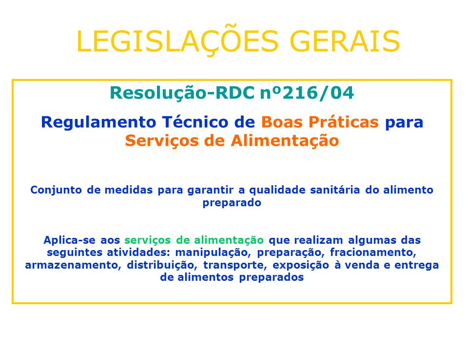 Resolução-RDC nº216/04 Regulamento Técnico de Boas Práticas para Serviços de Alimentação Conjunto de medidas para garantir a qualidade sanitária do al