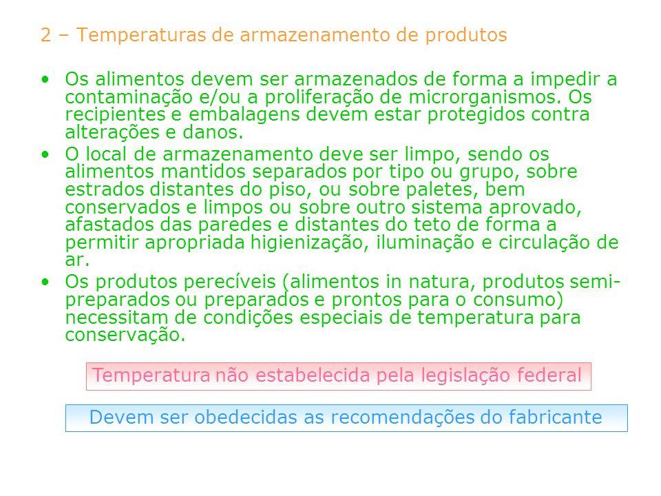 2 – Temperaturas de armazenamento de produtos Os alimentos devem ser armazenados de forma a impedir a contaminação e/ou a proliferação de microrganism