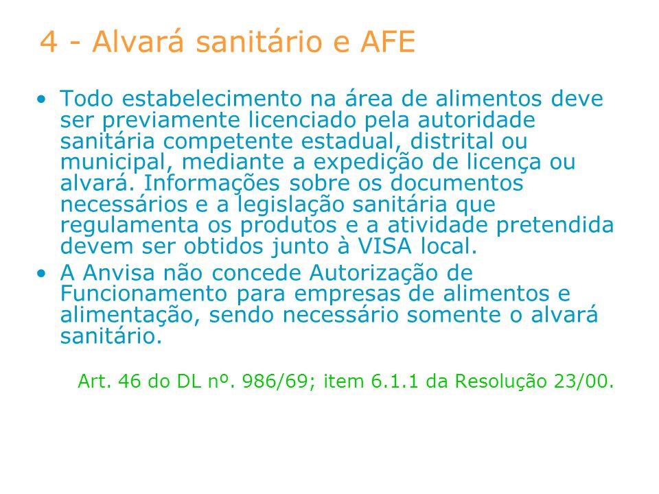 4 - Alvará sanitário e AFE Todo estabelecimento na área de alimentos deve ser previamente licenciado pela autoridade sanitária competente estadual, di