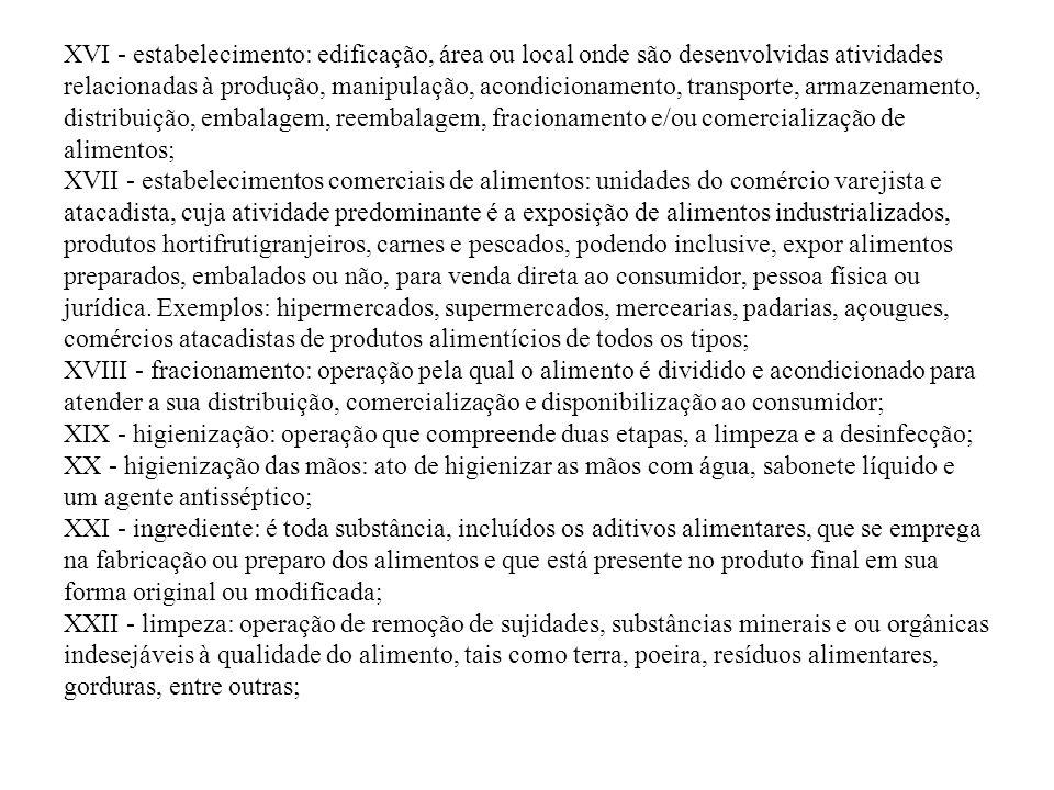 XVI - estabelecimento: edificação, área ou local onde são desenvolvidas atividades relacionadas à produção, manipulação, acondicionamento, transporte,