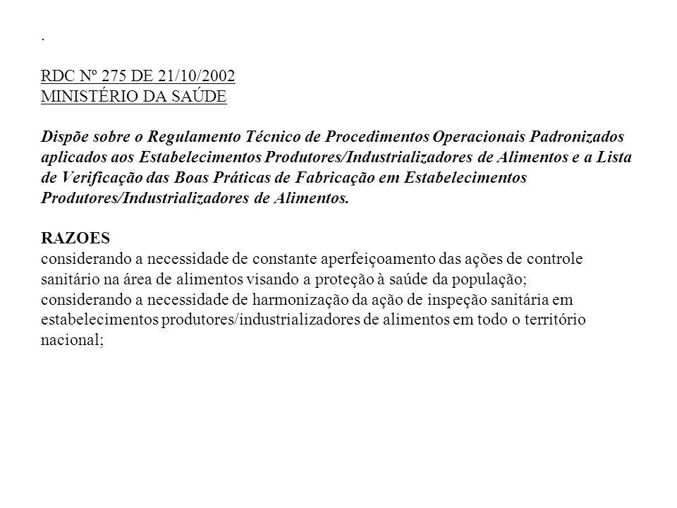 . RDC Nº 275 DE 21/10/2002 MINISTÉRIO DA SAÚDE Dispõe sobre o Regulamento Técnico de Procedimentos Operacionais Padronizados aplicados aos Estabelecim