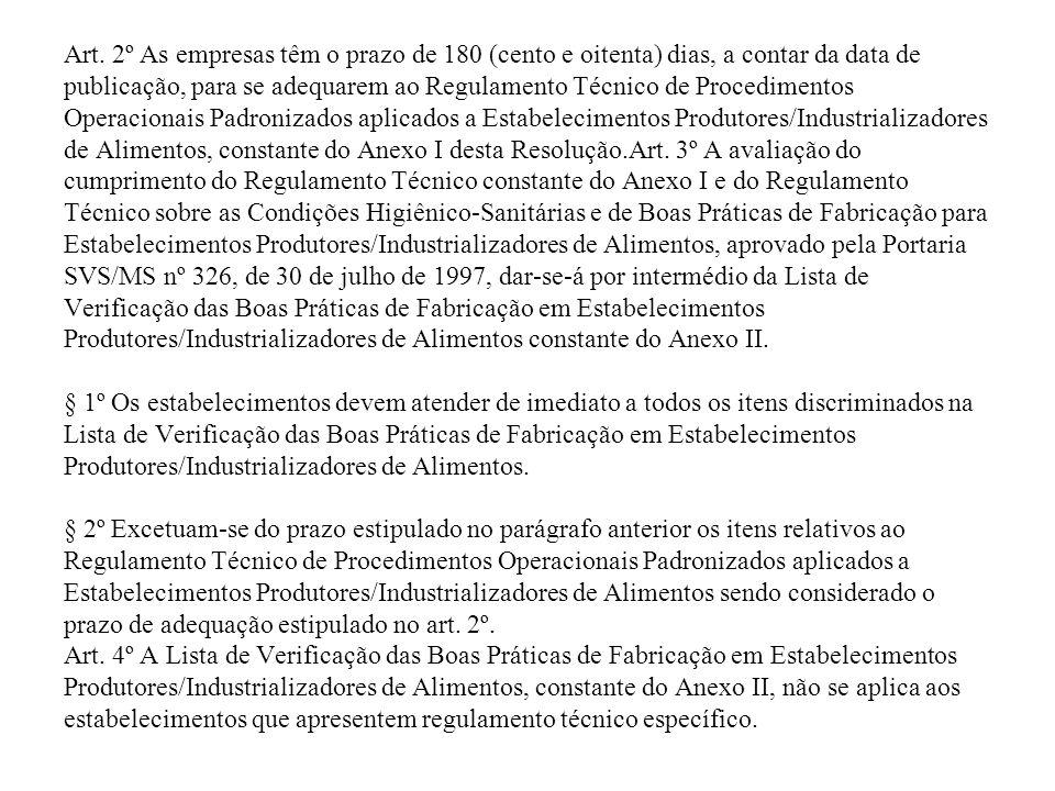 Art. 2º As empresas têm o prazo de 180 (cento e oitenta) dias, a contar da data de publicação, para se adequarem ao Regulamento Técnico de Procediment