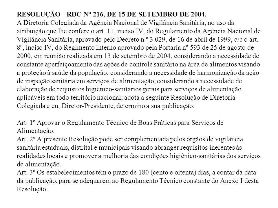 RESOLUÇÃO - RDC N° 216, DE 15 DE SETEMBRO DE 2004. A Diretoria Colegiada da Agência Nacional de Vigilância Sanitária, no uso da atribuição que lhe con