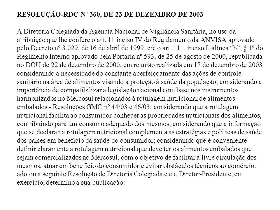 RESOLUÇÃO-RDC Nº 360, DE 23 DE DEZEMBRO DE 2003 A Diretoria Colegiada da Agência Nacional de Vigilância Sanitária, no uso da atribuição que lhe confer