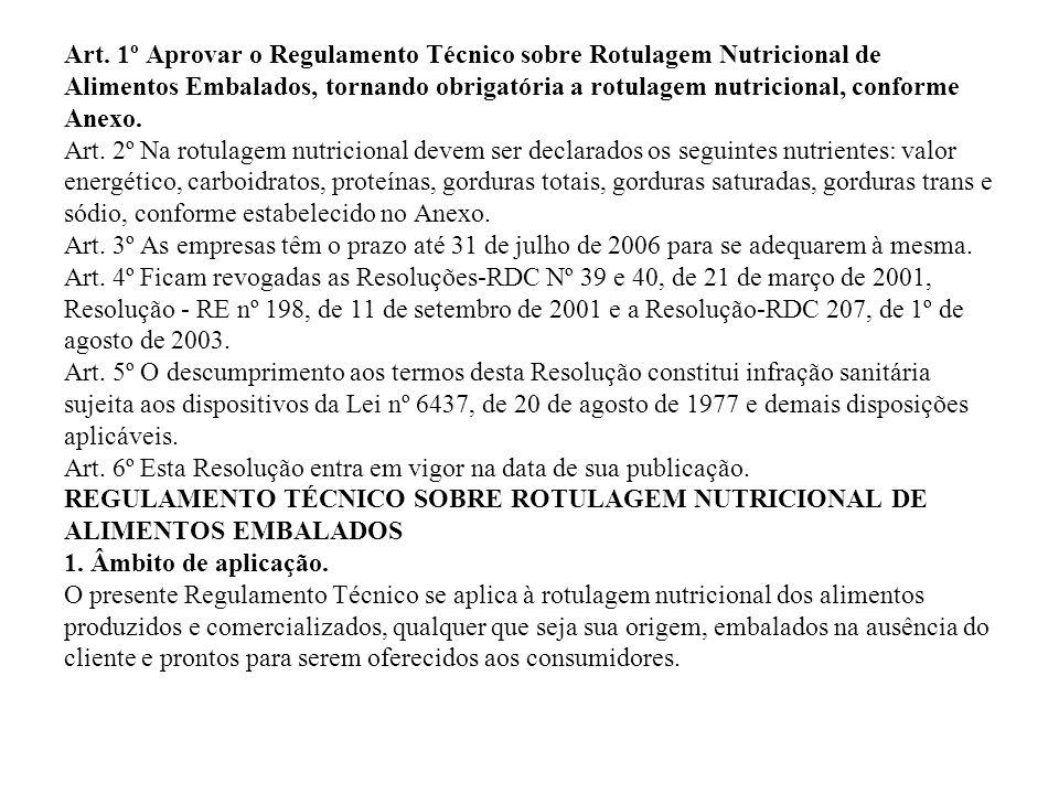 Art. 1º Aprovar o Regulamento Técnico sobre Rotulagem Nutricional de Alimentos Embalados, tornando obrigatória a rotulagem nutricional, conforme Anexo