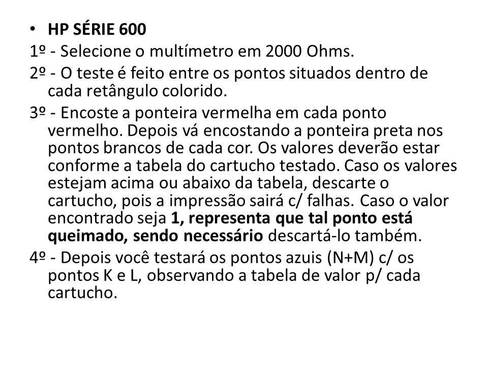 HP SÉRIE 600 1º - Selecione o multímetro em 2000 Ohms.