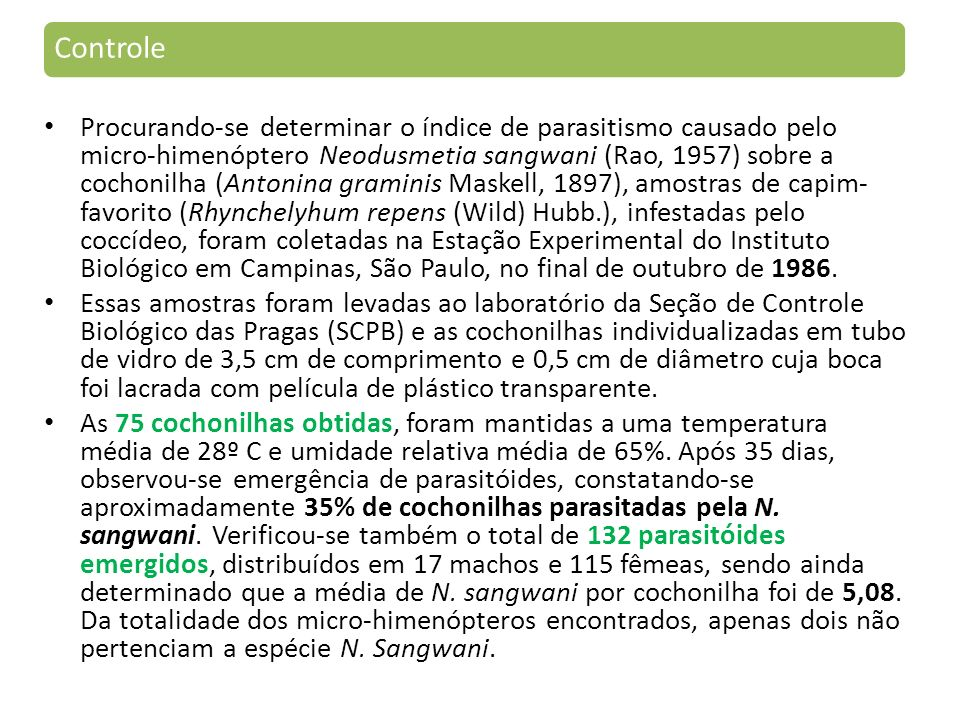 Controle Procurando-se determinar o índice de parasitismo causado pelo micro-himenóptero Neodusmetia sangwani (Rao, 1957) sobre a cochonilha (Antonina graminis Maskell, 1897), amostras de capim- favorito (Rhynchelyhum repens (Wild) Hubb.), infestadas pelo coccídeo, foram coletadas na Estação Experimental do Instituto Biológico em Campinas, São Paulo, no final de outubro de 1986.