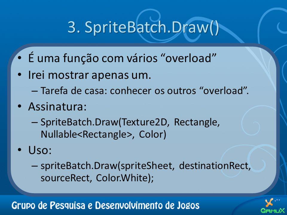 3. SpriteBatch.Draw() É uma função com vários overload Irei mostrar apenas um. – Tarefa de casa: conhecer os outros overload. Assinatura: – SpriteBatc