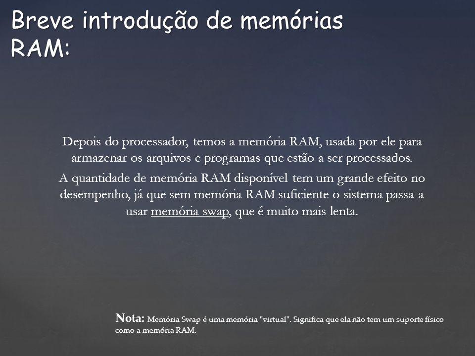 Depois do processador, temos a memória RAM, usada por ele para armazenar os arquivos e programas que estão a ser processados. A quantidade de memória