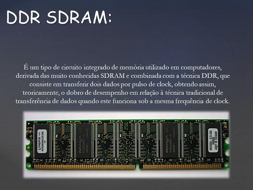 É um tipo de circuito integrado de memória utilizado em computadores, derivada das muito conhecidas SDRAM e combinada com a técnica DDR, que consiste em transferir dois dados por pulso de clock, obtendo assim, teoricamente, o dobro de desempenho em relação à técnica tradicional de transferência de dados quando este funciona sob a mesma frequência de clock.