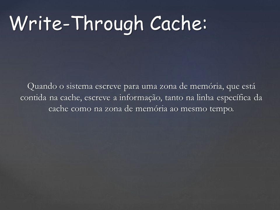Quando o sistema escreve para uma zona de memória, que está contida na cache, escreve a informação, tanto na linha específica da cache como na zona de