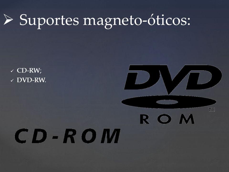 CD-RW; DVD-RW. Suportes magneto-óticos: