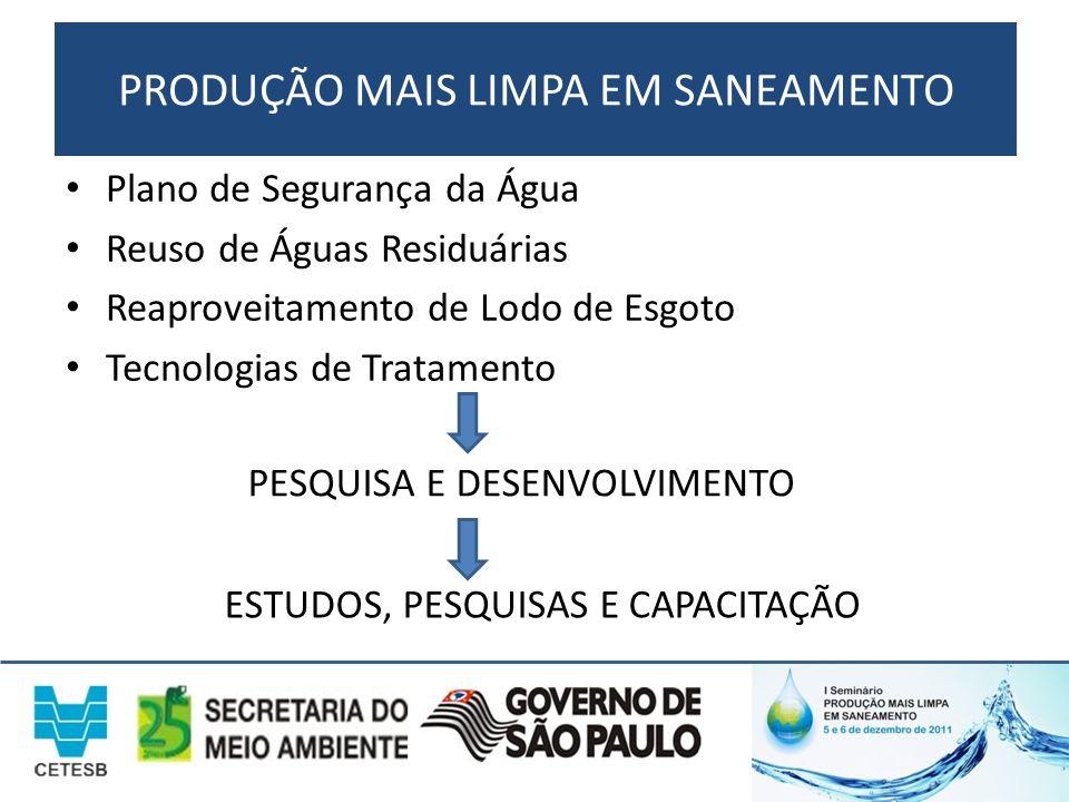PRODUÇÃO MAIS LIMPA EM SANEAMENTO Plano de Segurança da Água Reuso de Águas Residuárias Reaproveitamento de Lodo de Esgoto Tecnologias de Tratamento P
