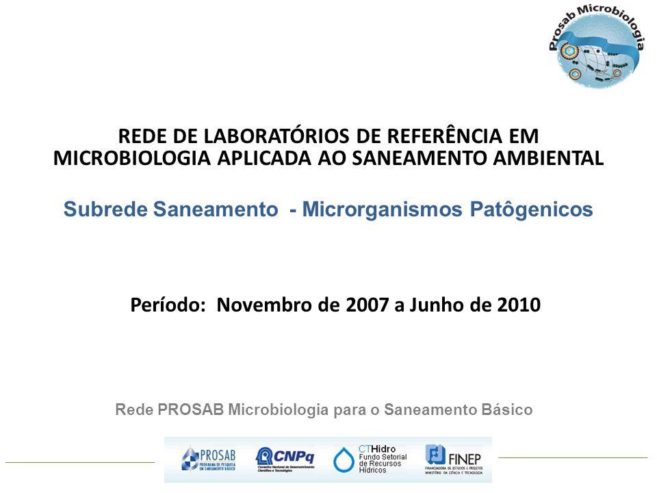 REDE DE LABORATÓRIOS DE REFERÊNCIA EM MICROBIOLOGIA APLICADA AO SANEAMENTO AMBIENTAL Subrede Saneamento - Microrganismos Patôgenicos Período: Novembro