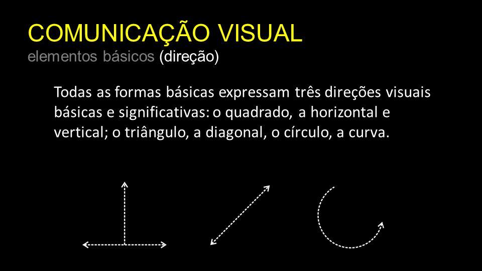 COMUNICAÇÃO VISUAL elementos básicos (direção) Cada uma das direções visuais tem um forte significado associativo e é um valioso instrumento para a criação de mensagens visuais.