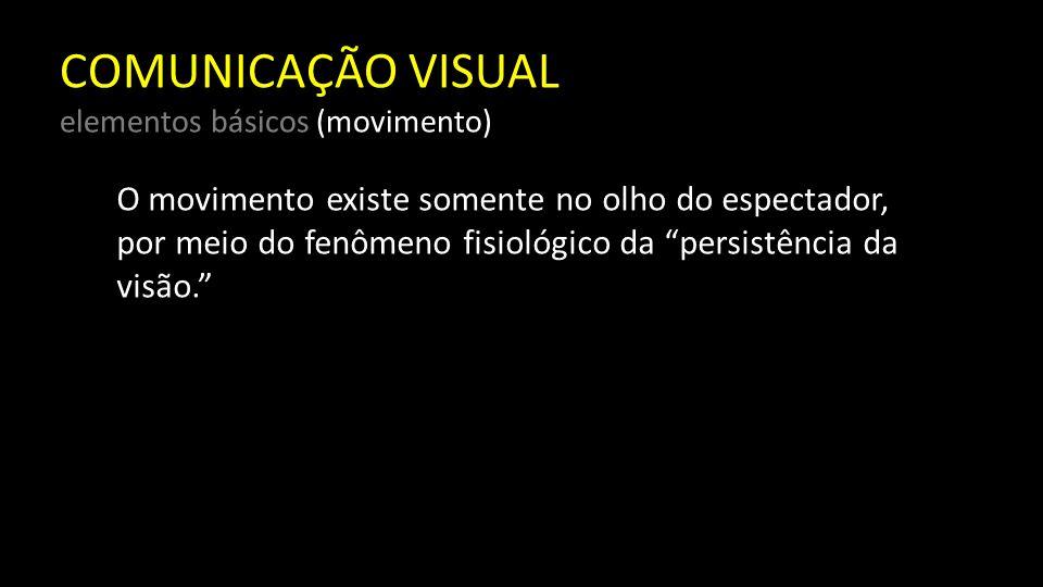 COMUNICAÇÃO VISUAL elementos básicos (movimento) Algumas das propriedades da visão podem constituir a razão incorreta do uso da palavra movimento para descrever tensões e ritmos compositivos nos dados visuais quando, na verdade, o que está sendo visto é fixo e imóvel.