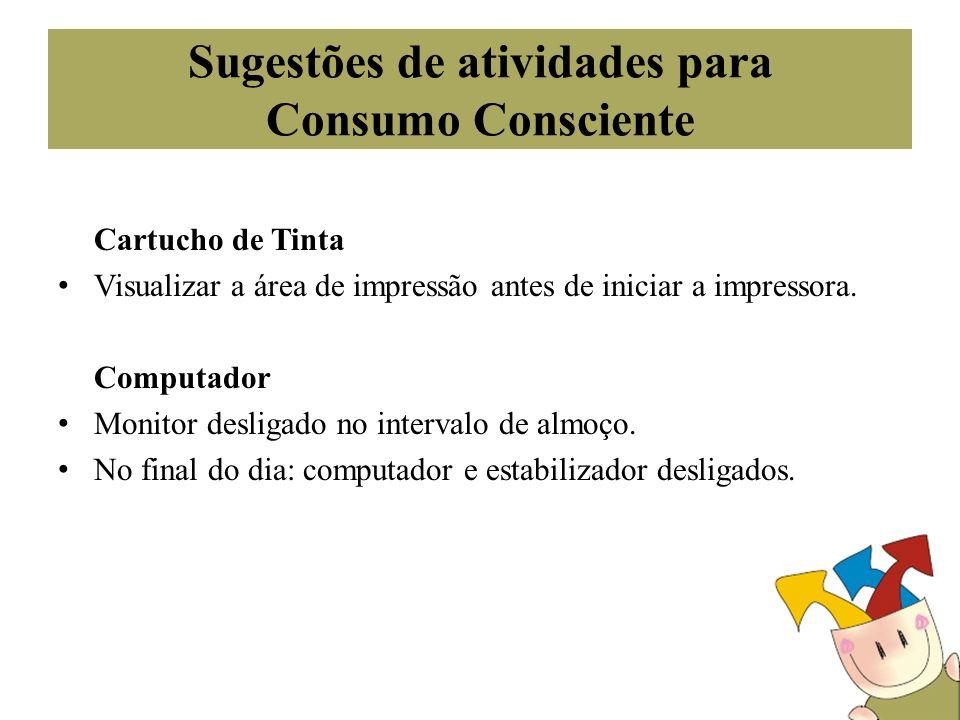 Sugestões de atividades para Consumo Consciente Cartucho de Tinta Visualizar a área de impressão antes de iniciar a impressora. Computador Monitor des