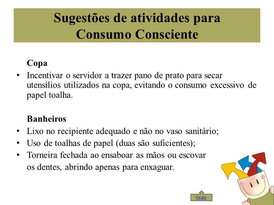 Sugestões de atividades para Consumo Consciente Copa Incentivar o servidor a trazer pano de prato para secar utensílios utilizados na copa, evitando o
