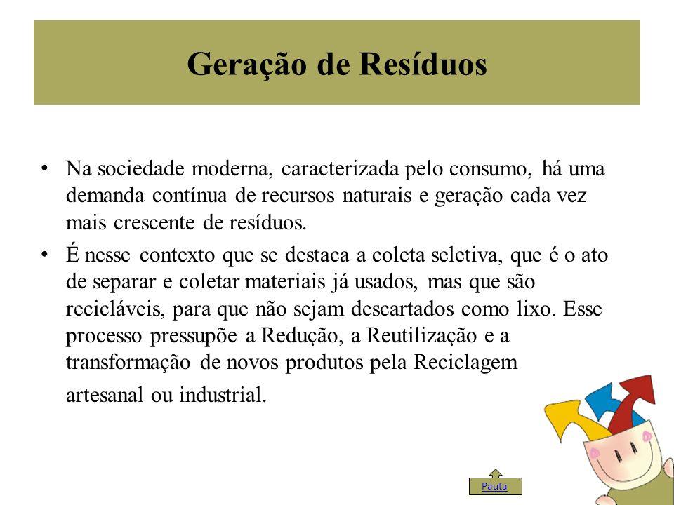 Geração de Resíduos Na sociedade moderna, caracterizada pelo consumo, há uma demanda contínua de recursos naturais e geração cada vez mais crescente d