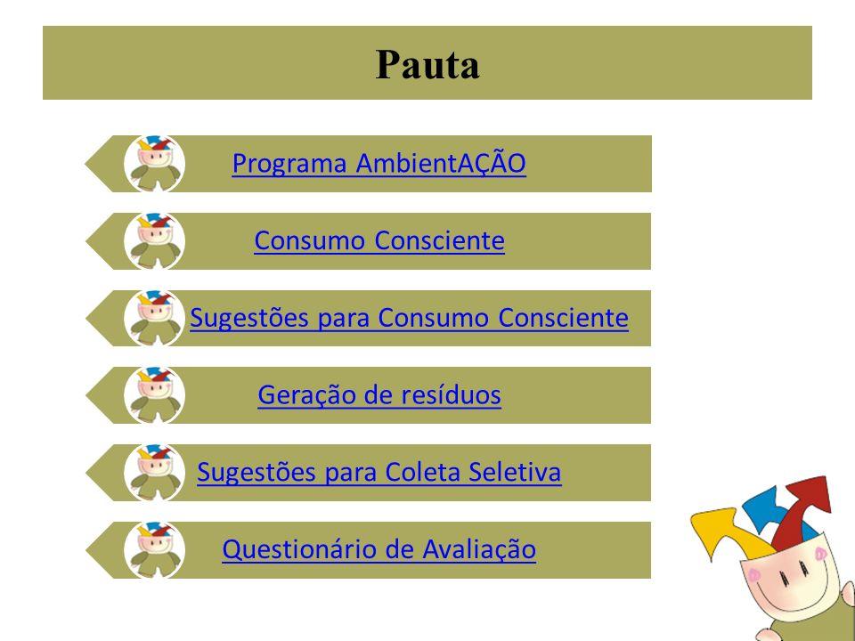 Pauta Programa AmbientAÇÃO Consumo Consciente Sugestões para Consumo Consciente Geração de resíduos Sugestões para Coleta Seletiva Questionário de Ava