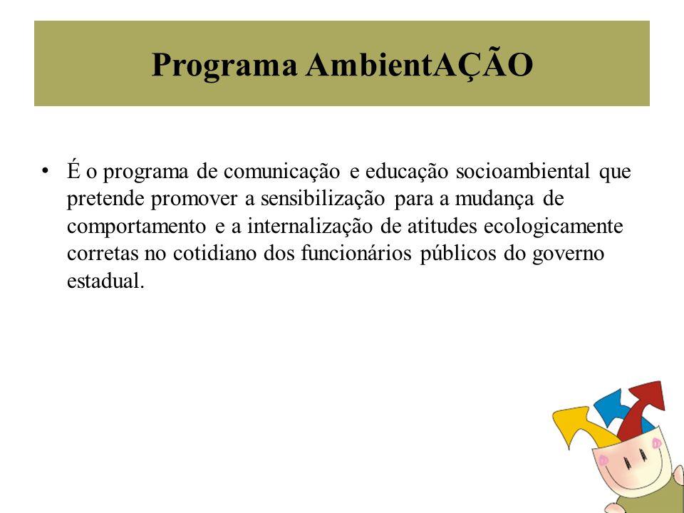 Programa AmbientAÇÃO É o programa de comunicação e educação socioambiental que pretende promover a sensibilização para a mudança de comportamento e a