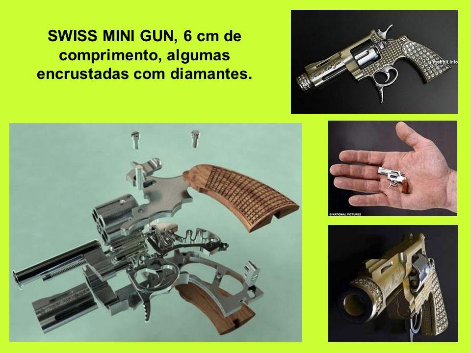 SWISS MINI GUN, 6 cm de comprimento, algumas encrustadas com diamantes.