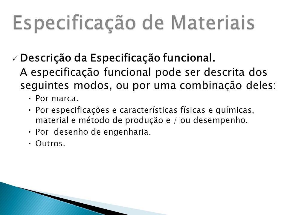 Descrição da Especificação funcional.