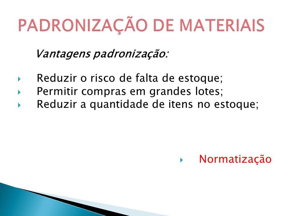 Vantagens padronização: Reduzir o risco de falta de estoque; Permitir compras em grandes lotes; Reduzir a quantidade de itens no estoque; Normatização