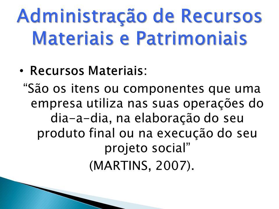 Recursos Materiais: São os itens ou componentes que uma empresa utiliza nas suas operações do dia-a-dia, na elaboração do seu produto final ou na execução do seu projeto social (MARTINS, 2007).
