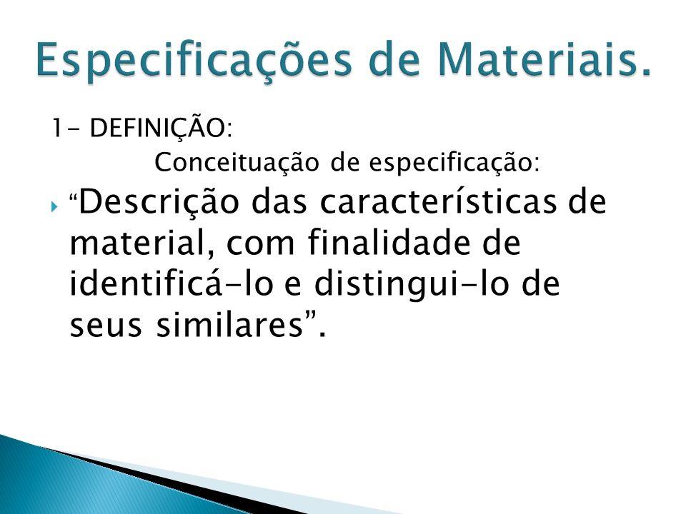 1- DEFINIÇÃO: Conceituação de especificação: Descrição das características de material, com finalidade de identificá-lo e distingui-lo de seus similares.