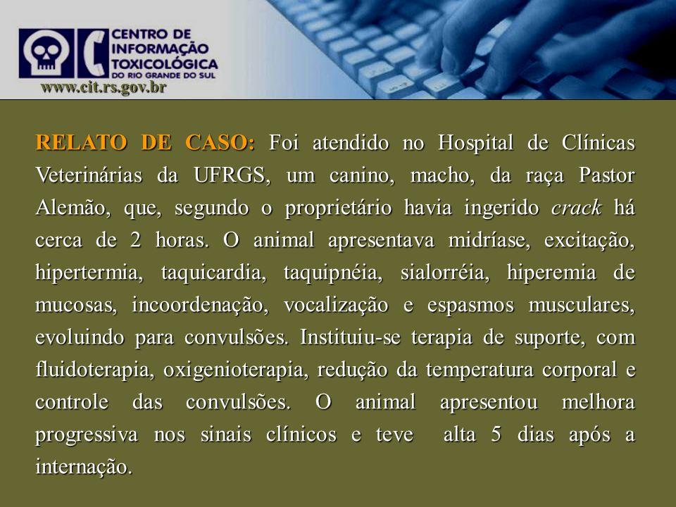 www.cit.rs.gov.br RELATO DE CASO: Foi atendido no Hospital de Clínicas Veterinárias da UFRGS, um canino, macho, da raça Pastor Alemão, que, segundo o