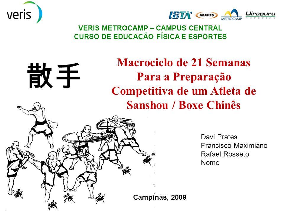 VERIS METROCAMP – CAMPUS CENTRAL CURSO DE EDUCAÇÃO FÍSICA E ESPORTES Macrociclo de 21 Semanas Para a Preparação Competitiva de um Atleta de Sanshou /