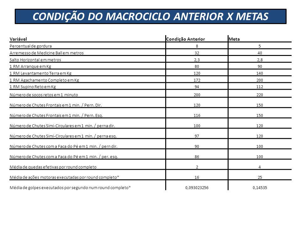CONDIÇÃO DO MACROCICLO ANTERIOR X METAS VariávelCondição AnteriorMeta Percentual de gordura85 Arremesso de Medicine Ball em metros3240 Salto Horizonta