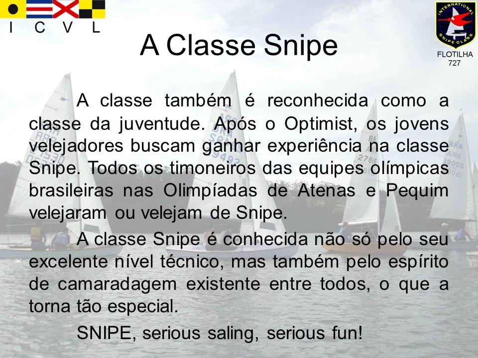 A Classe Snipe A classe também é reconhecida como a classe da juventude. Após o Optimist, os jovens velejadores buscam ganhar experiência na classe Sn