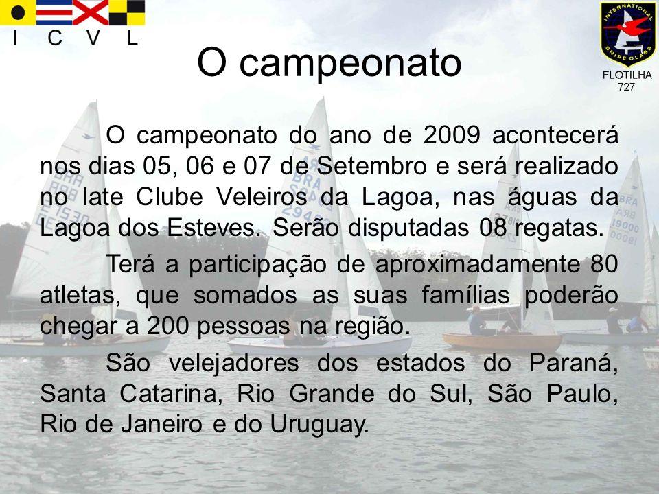 O campeonato O campeonato do ano de 2009 acontecerá nos dias 05, 06 e 07 de Setembro e será realizado no Iate Clube Veleiros da Lagoa, nas águas da La
