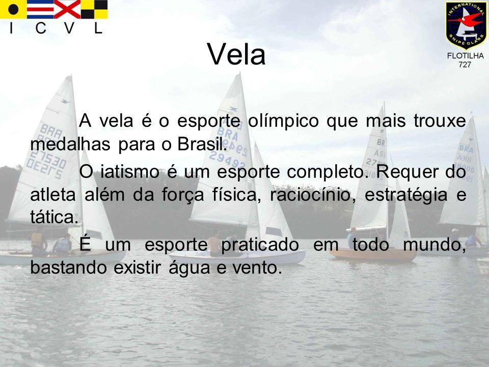 Vela A vela é o esporte olímpico que mais trouxe medalhas para o Brasil. O iatismo é um esporte completo. Requer do atleta além da força física, racio