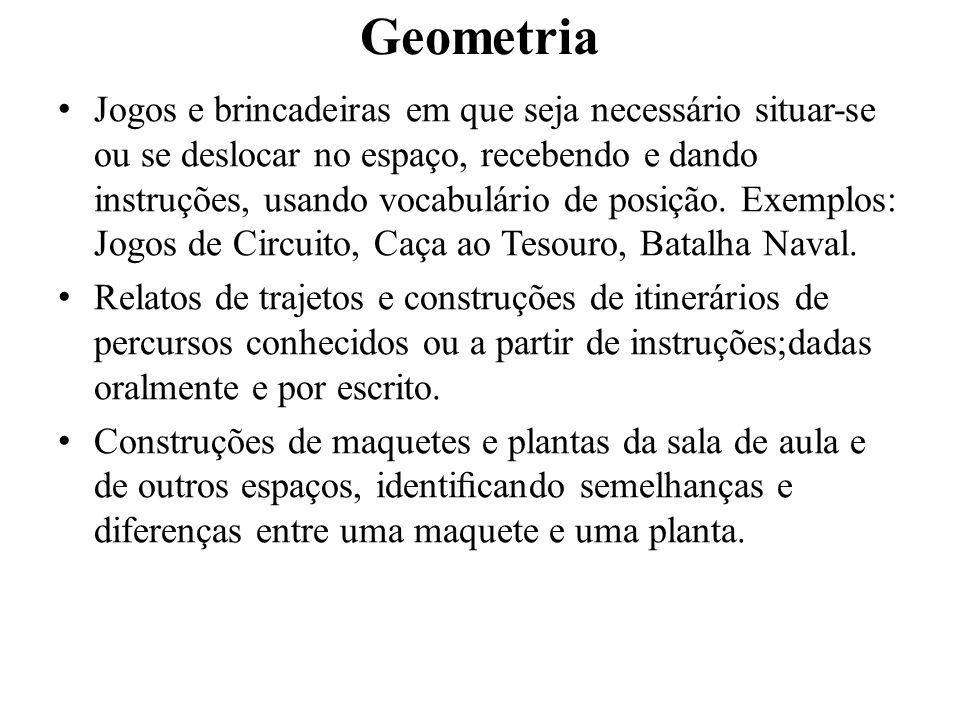 Geometria Jogos e brincadeiras em que seja necessário situar-se ou se deslocar no espaço, recebendo e dando instruções, usando vocabulário de posição.