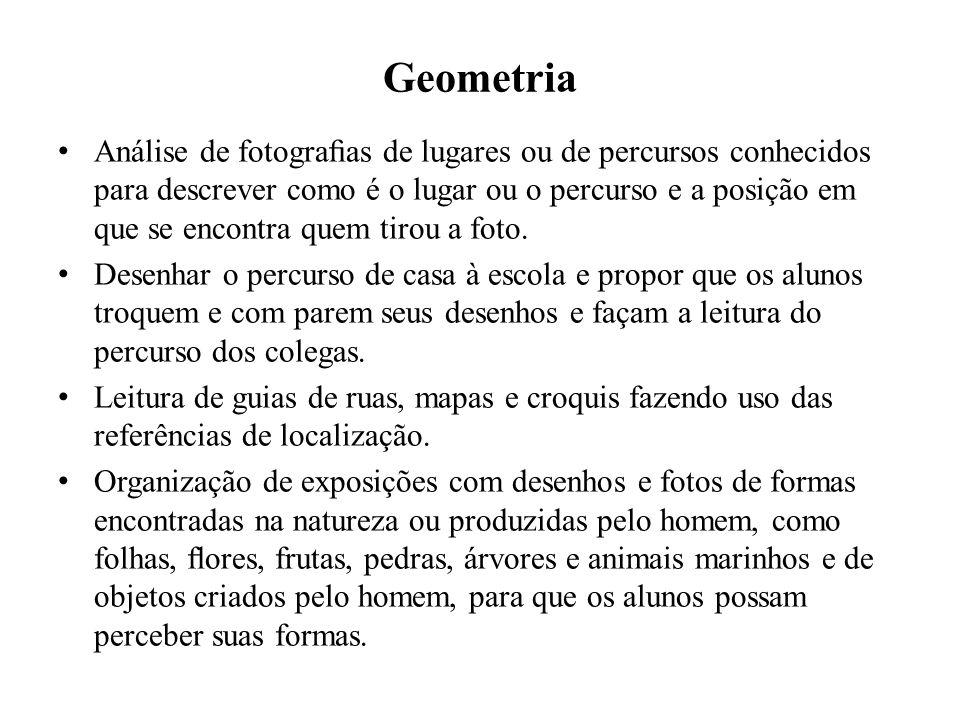 Geometria Análise de fotograas de lugares ou de percursos conhecidos para descrever como é o lugar ou o percurso e a posição em que se encontra quem t